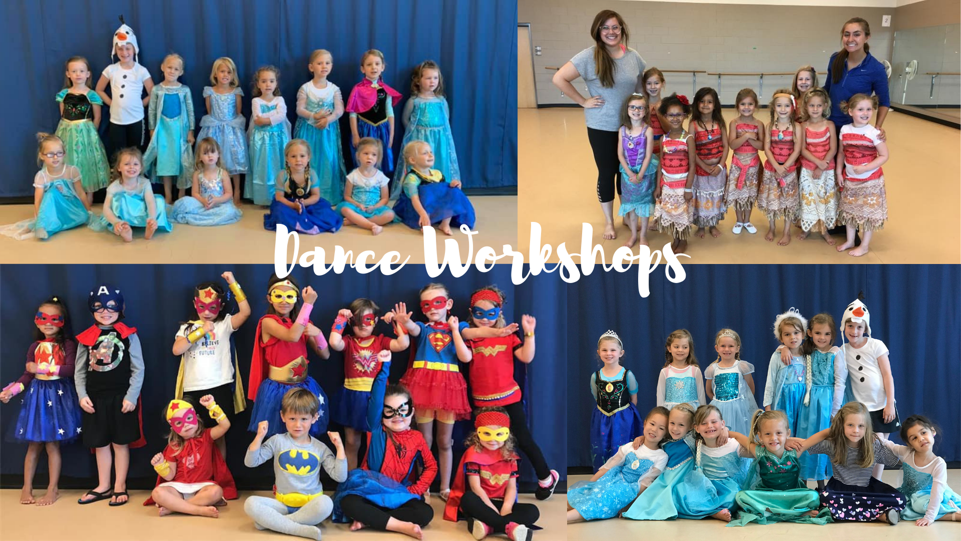 Children in costumes for a dance workshop