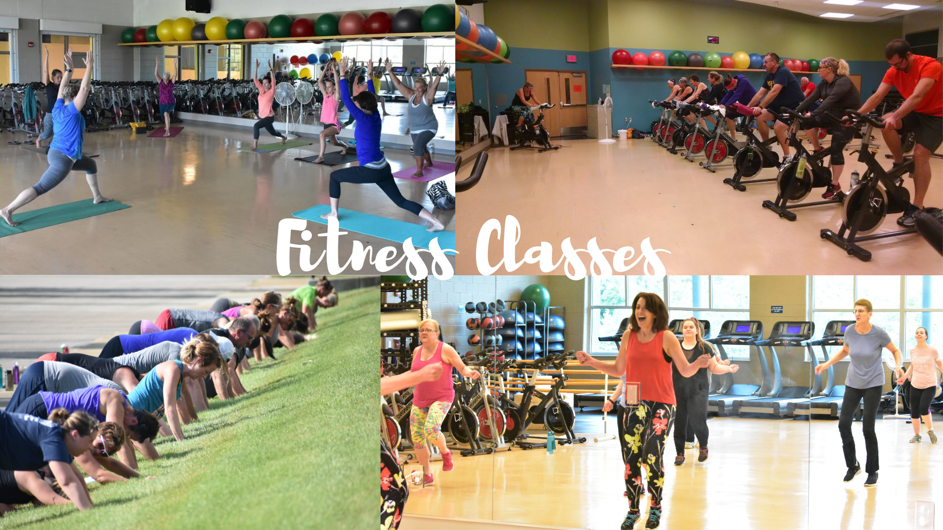 Adults in spin class, zumba and yoga